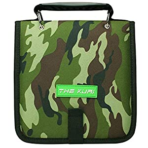 "Fishing Tackle Binder, Bait Storage Bag, Soft Bait Binder, Fishing Organized Storage Rig Bag for Baits, Rigs, Jigs and Lines, Suitable for Fresh Water and Saltwater 12 (Green camouflage/9.5"" 8.3"")"