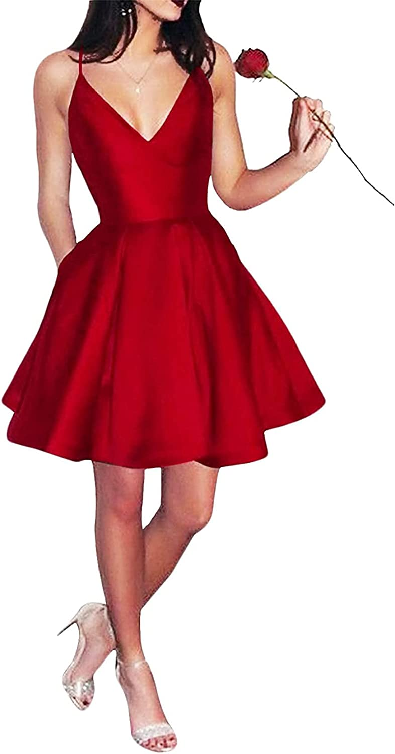 Mcmiya Spaghetti Straps Homecoming Dresses for Teens V-Neck Short Prom Dress A-Line Satin Juniors Evening Party Gown