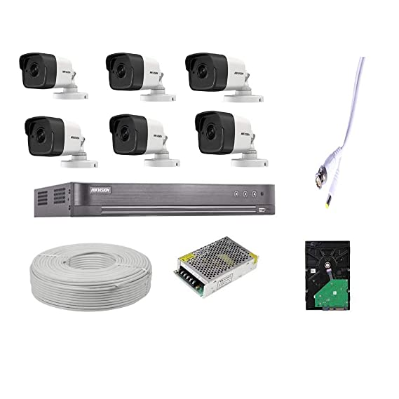 HIKVISION BESTECH Full HD 5MP Cameras Combo KIT 8CH HD DVR, 6 Bullet Cameras, 2TB Hard DISC, Wire ROLL, Supply and All Required Connectors