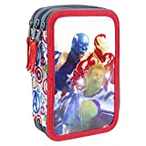 Cerdá Avengers, Estuche Plumier Triple con Rotuladores Giotto de The Avangers-Licencia Oficial Marvel Studios Unisex niños, Multicolor, 12.5 X 19.5 X 6.5 CM