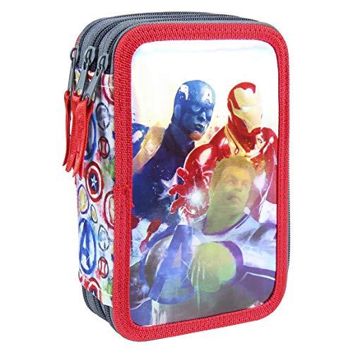 Cerdá Avengers, Estuche Plumier Triple con Rotuladores Giotto de The Avangers - Licencia Oficial Marvel Studios Unisex niños, Multicolor, 12.5 X 19.5 X 6.5 CM