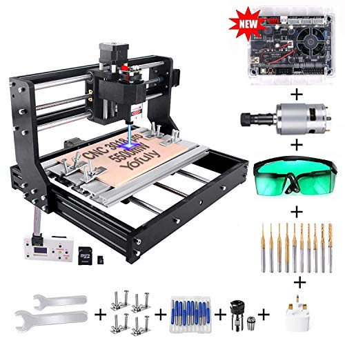 CNC 3018 Pro 5500mw Laser Gravurmaschine, Yofuly 2 in 1 Upgrade Version GRBL Steuerung DIY Router 3 Achsen PCB Fräsmaschine mit Offline Controller, mit ER11 und 5mm Verlängerungsstange