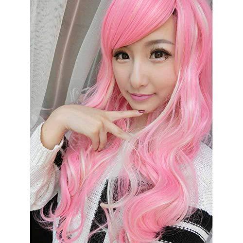 WANGZ 26 Pouces / 65cm Cosplay Vague Longue Perruque de Femmes Roses Parti Perruques postiches Cheveux Cap Lolita Anime Style Perruque