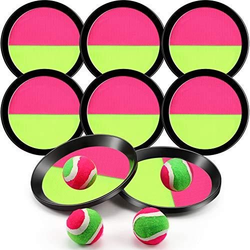 Werfen und Fangen Ball Spiel mit 8 Schläger und 4 Kugeln, 6 Zoll Fangen Sport Spiel Set Paddel Fang Spiele Outdoor Aktivität für Familien (Gelb und Rose Rot)