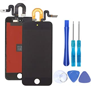 Full Screen Replacement for iPod Touch 5 5th 6 6th Generation LCD Screen Digitizer The Whole Display Assembly with Repair Tools and Glass Screen Protector (Black)