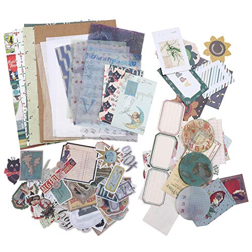 TSLBW Juego de 88 pegatinas de papel de Ephemera vintage para álbumes de recortes, manualidades, manualidades de bricolaje, calcomanías decorativas para diario