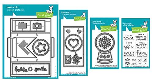 Lawn Fawn Ultimate Shutter Card Die Bundle, Shutter Card Die, Shutter Card Add-on, Shutter Card Snow Globe Add-on, Shutter Card Holiday Sayings, Bundle of 4 Items (LF2432, LF2433, LF2434, LF2435)