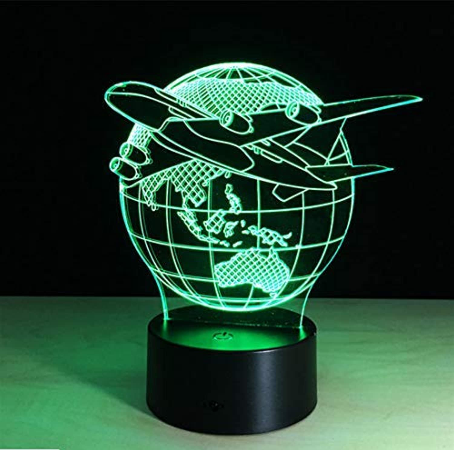 BMY Plane Fly Eart3D Lamp 7 color Change Remote Switch Night Light Luminaria Atmosphere Lamp Bedroom Light Novelty Gift Lava Lamp