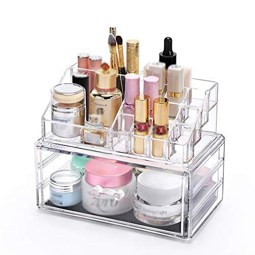 CZSM Organisateur de Maquillage Acrylique et cosmétique Maquillage Organisateur comptoir boîte de Rangement de comptoir Porte-balais Clair Organisateur de Bijoux pour Commode,L54