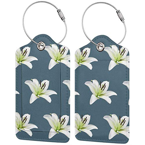 Leather Travel Luggage Tags,Beautiful-Lilies Printed Travel Id Labels,Business Card Holder,Suitcase Labels,Travel Accessories,with Privacy Cover Stainless Steel Ring