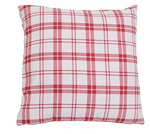Lazis - Kissen, Kissenhülle, Zierkissen - SAAS Fee - Weiß Rot - 50 x 50 cm - ohne Füllung