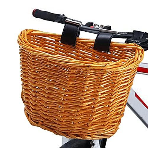 Lixada Panier de vélo en osier, Panier de vélo avant en forme de D, guidon étanche avec sangle en cuir