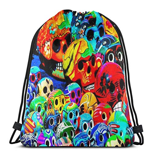 March flowers Funny Colorful Rainbow Skull Head 3D Print Drawstring Backpack Rucksack Shoulder Bags Gym Bag for Adult 16.9\