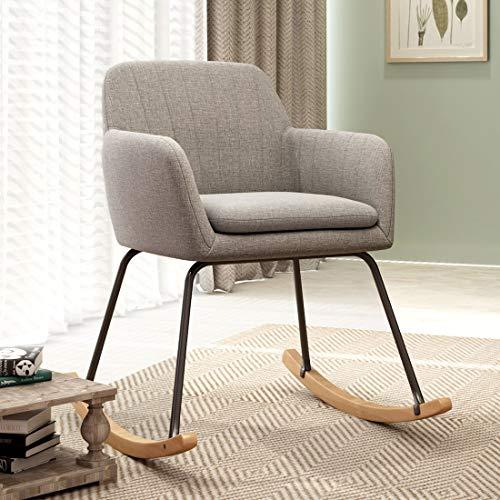 Durian Bruna Grey Fabric Rocking Chair, ash Grey, Standard