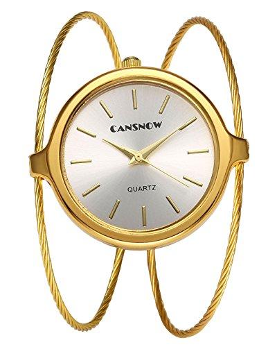 JSDDE Uhren Chic Damenuhr Manschette Spangenuhr Zeitlose Design Armbanduhr Analog Quarzuhr Doppel Dünn Metallband Uhr Kleideruhr für Frauen (Gold)