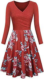 LONGYING Women's Casual Printed Long Sleeve Vintage V-Neck Pleated Dress Elegant Floral Flared Midi Dress Party Swing Dress