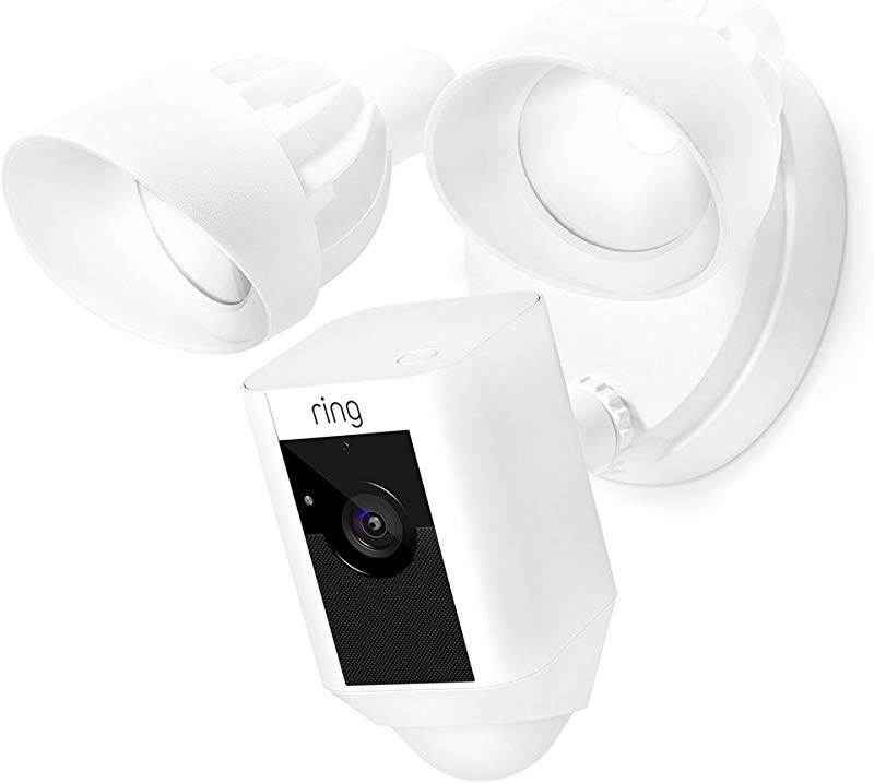 Ring Floodlight Camera Motion Activated HD Security Cam Two Way Talk And Siren Alarm White