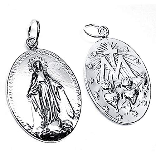 Iyé Biyé Jewels Colgante Medalla Plata de Ley 925 MLS Virgen Milagrosa 30 mm. Mujer Brillo