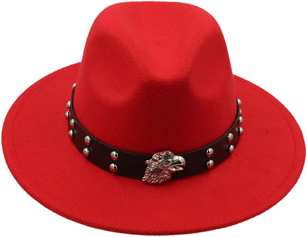L.W.SUSL 100% Real Wool Fedoras Hats for Women and Male Solid Wide Brim Vintage Jazz Caps