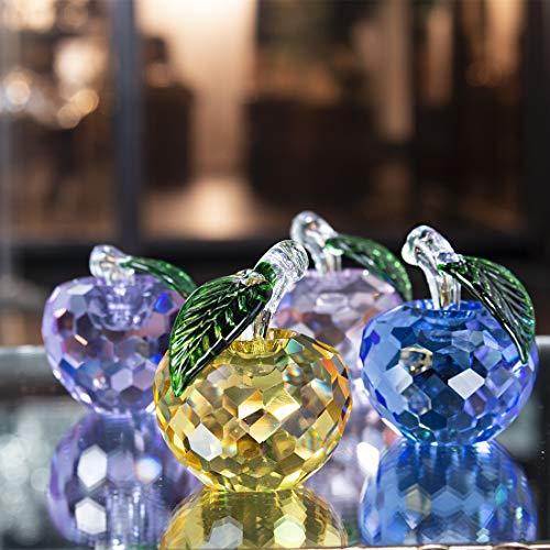 H&D Kristall Apfel Sammlerstücke Glas Apfel Figur Obst Ornament Tischdekoration,4 Stück