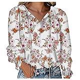 Camiseta de manga larga para mujer, diseño floral, cuello en V, manga larga, para otoño, informal, ropa interior de invierno, elegante, túnica, Blanco, M