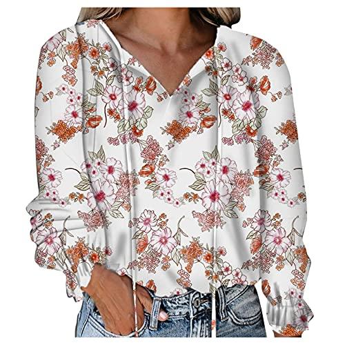 Pistaz Sudadera de manga larga para mujer con estampado de flores, manga corta, informal, elegante, camisa...