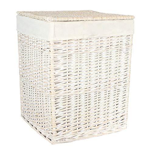 Red Hamper Small Square White Wash Wicker Laundry Basket