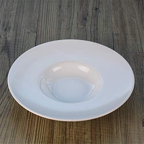 YAeele Los más vendidos Europea Occidental Matorral Bandeja de cerámica Redondo sólido de Color Negro Grande Cepillado Filete Plana Large White 26cm Fácil de Limpiar