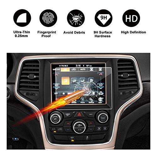 RUIYA Proteggi schermo in vetro temperato per 2011-2017 Jeep Grand Cherokee SRT WK2 WL Uconnect Sistema di navigazione,Crystal Clear HD Proteggi schermo-8,4 pollice