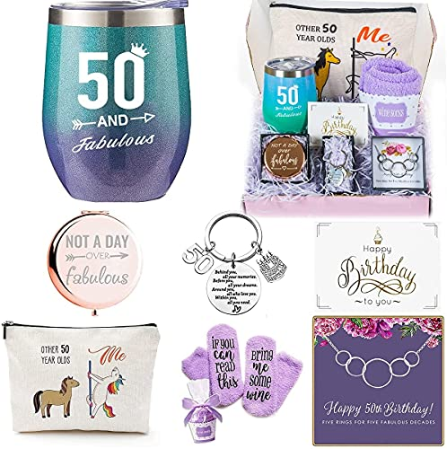 50th Birthday Gifts Box for women with 6 Special & Unique Gifts for Mom Sister Best Friend Wife Grandma Coworker | Funny Wine Gift Ideas Mirror Funny Socks Jewelry Makeup Bag Keychain