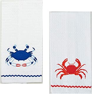 Loving Home Beach House Nautical Blue Crab and Red Crab Waffle Weave Cotton Dishtowel Set of 2 Tea Towels