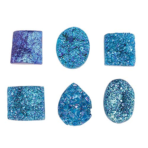 GEMHUB Blue Color Druzy Stone 120 Carat Lot of 6 Pcs Mix Shape Loose Gemstone for Jewelry Making
