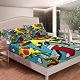 Hamburger Pizza Bed Sheet Set Fsat Food Themed Bedding Set Popcorn Cola Fitted Sheet for Kids Boys Girls Teens Lightweight Delicious Food Bed Cover Full Size with 2 Pillow Case