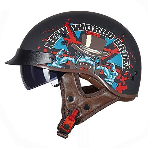 FANGJIA-Helmet Casco Moto Jet Abierto Retro con Visera Dot Homologado Medio Casco Scooter Ciclomotor Bicicleta Cascos para Mujer y Hombre,Adultos