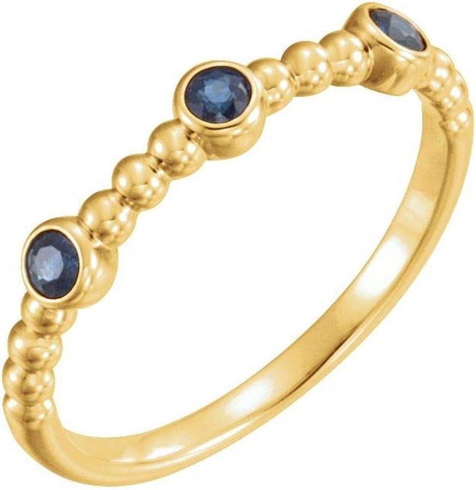 3 Three Stone Blue Sapphire Beaded Ring Band (Width = 80mm)