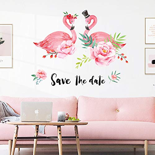 Flour Nordic woonkamer achtergrond decoratie sticker flamingo behang wandsticker zelfklevende woonhuis frisse stickers
