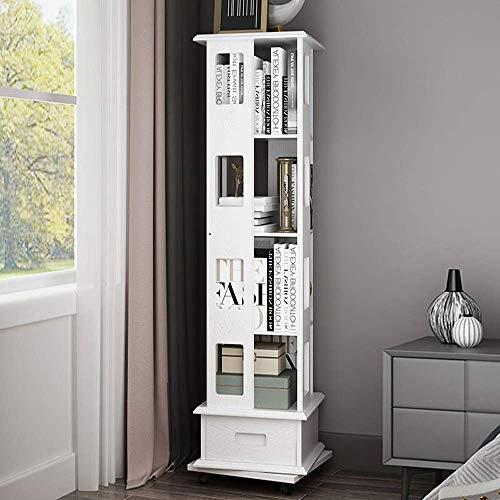 AOIWE Bookshelf e libreria in Legno massello a 360 Gradi scaffale per Bookshelf stoccaggio con Ruote Ufficio Soggiorno mobili (Color : White, Size : 145X44X44cm)