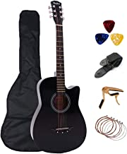 Acoustic Adults Guitar 38 inch Rosefinch Basswood Folk Wooden Guitar with Bag Pick Capo for Beginners (Black)