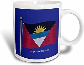 Taza 3dRose la bandera de Antigua y Barbuda saludando en un fondo azul (taza 63226_ 3)–11oz–transformando, blanco/negro