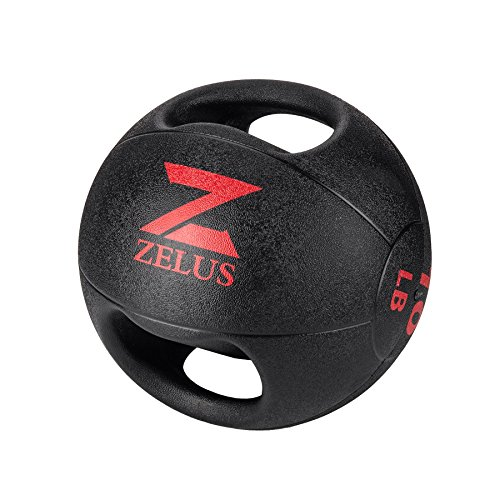 ZELUS Medicine Ball with Dual Grip| 10/20 lbs Exercise Ball |Weight Ball with Handles| Textured Grip Exercise Ball |Strength Training| Core Workouts|Balance Training|. Weights for Exercises