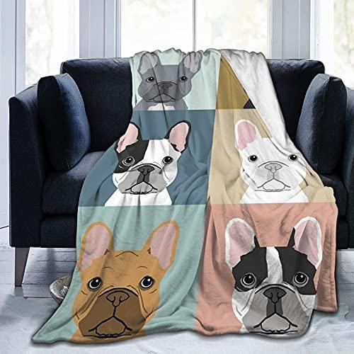 Manta de forro polar con impresión 3D de Bulldog Francés para sofá o cama, tamaño súper acogedor y cómodo para todas las estaciones