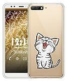Sunrive Coque pour Huawei Y6 2018/Y6 Prime 2018 5,7 Pouces, Silicone Étui Housse Protecteur Souple Gel Coussin d'air Transparent Back Case(TPU Chat 2)+ Stylet OFFERTS