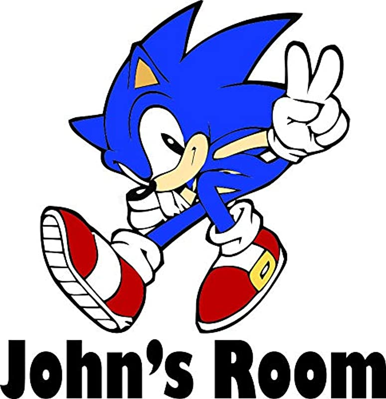 New Personalized Names Custom Name Sonic The Hedgehog Show Cartoon Classic Video Game Movie Character Wall Decal Decals Stickers Sticker For Kids Rooms Walls 90s Cartoons Kids Size 20x20 Inch