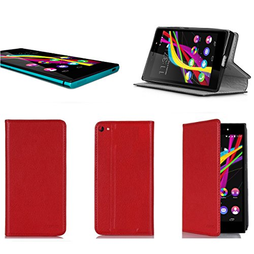 XEPTIO Wiko Highway Pure 4G Tasche Leder Hülle rot Cover mit Stand - Zubehör Etui Wiko Highway Pure 4G/LTE Flip Case Schutzhülle (PU Leder, Handytasche red) Accessories