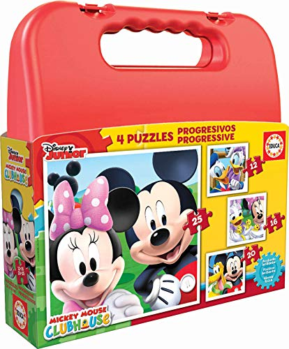 Educa 16505 - Koffer Progressive Puzzle, Mickey Mouse Club House, 4-er Set