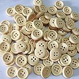 WDBZD 100Pcs / Set 15/20 / 25 mm Holzknöpfe Natural Color Round 4-Holes Nähen Scrapbooking DIY Knöpfe Zu,20MM