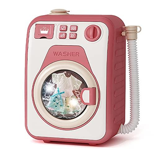 EASYTAO Electrodomésticos Play House Lavadora de Juguete,Lavadora de Juguetes ElectróNica con Sonidos y Funciones Realistas, Juego de Limpieza Interactivo para NiñOs PequeñOs(Color:Rojo-Single)