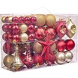 Valery Madelyn 100 Piezas Bolas de Navidad de 3-6cm, Adornos Navideños para Arbol, Decoración de Bolas de Navidad Inastillable Plástico de Rojo y Dorado, Regalos de Colgantes de Navidad
