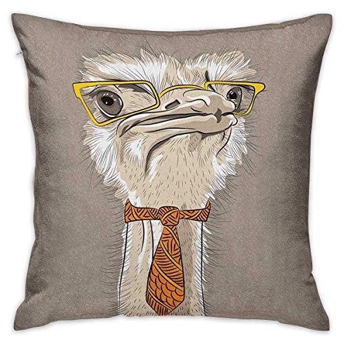 NA Indie Square Custom Pillowcase Sketch Portrait of Funny Modern Ostrich Bird con anteojos Amarillos y Corbata Beige Beige Fundas de Cojines Amarillos Fundas de Almohada para sofá Dormitorio Coche