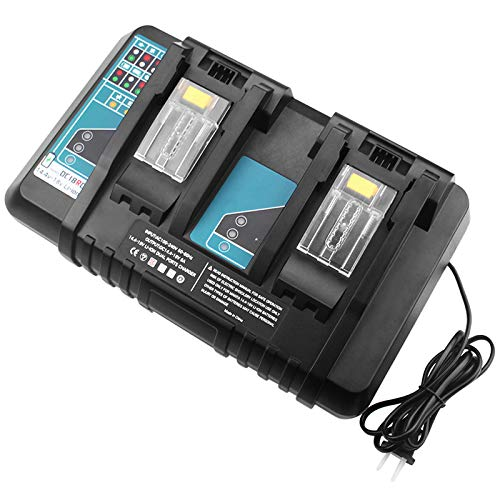 Forrat Replacement for Makita 18V Battery Charger Dual Port for DC18RD DC18RC DC18RA DC18SF charger Compatible with 14.4-18V LXT Lithium-ion Battery BL1830 BL1840 BL1850 BL1815 BL1860 BL1430 BL1450